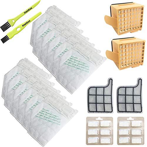 Italdos Kit de Bolsa Aspiradora Compatible para Vorwerk Kobold VK135 VK136 con Filtro HEPA de Repuesto - 12 Bolsas + 2 Filtros de Motor + 2 Filtros HEPA + 12 parafumes + 2 Cepillos