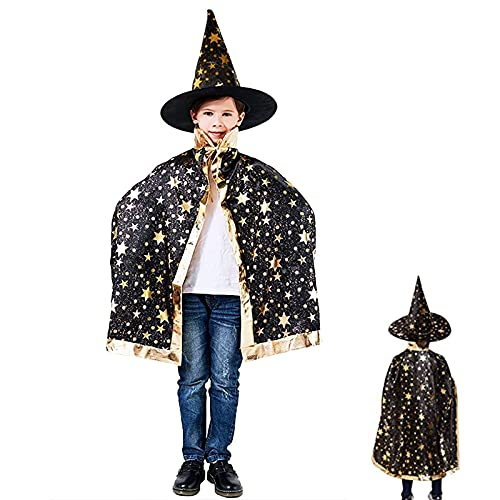 GEEORZO Wizard Cape with Hat, Halloween Witch Cloak Hat Set, Halloween Costume Star Cape for 3-12 Years Kids Cosplay Performance,Halloween Props