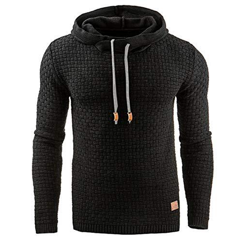 GAOHONGMEI hombres otoño invierno casual cálido manga larga embudo cuello a cuadros jacquard jersey con capucha superior gruesa de punto deportivo sudadera chaqueta Outwear-negro-XL