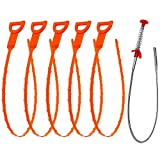 Vastar 6 in 1 Drain Snake Hair Drain with 5 Packs Drain Auger Clog Remover Cleaning Tool & 1 Pack Drain Relief Tool (5+1)