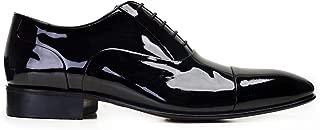 6506-F41 PIY-SIYAH RUGAN 110 Nevzat Onay Bağcıklı Siyah Rugan Deri Kösele Erkek Ayakkabı