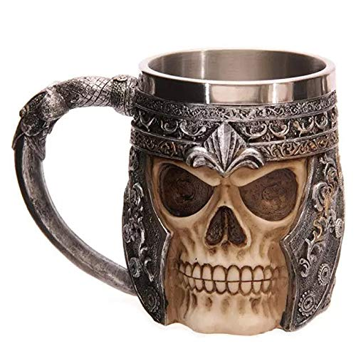 WIKEA Roestvrij stalen schedel bier beker, Viking Warrior schedel mok Tankard, middeleeuwse schedel Drinkware mok voor koffie/drank/sap