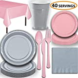 Disposable Party Supplies, Serves 40 - Silver and Light Pink - Large and Small Paper Plates, 12 oz Plastic...