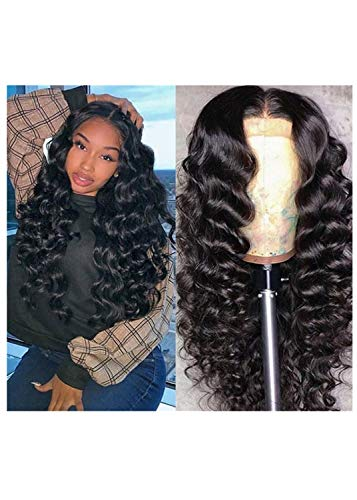 Lace Front Wigs 30'' Long Wavy Synthetic Wigs For Black Women 130% Density Wigs(BLACK COLOR)