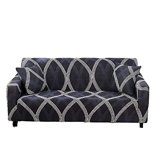 Funda de sofá con Todo Incluido Patrones geométricos Fundas de sofá Fundas de sofá elásticas con Estampado Moderno Protector de Muebles,Color 3,2 Seater (145-185cm)