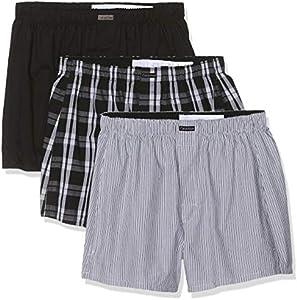 Calvin Klein Boxer WVN 3PK Calzoncillos, Negro (Blk/Morgan Plaid/Montague Stripe BMS), S para Hombre