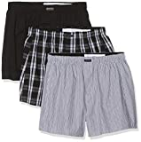 Calvin Klein Boxer WVN 3PK Calzoncillos, Negro (Blk/Morgan Plaid/Montague Stripe BMS), XL para Hombre