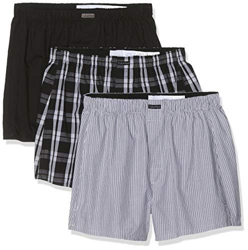 Calvin Klein Boxer WVN 3PK Calzoncillos, Negro (Blk/Morgan Plaid/Montague Stripe BMS), XL...