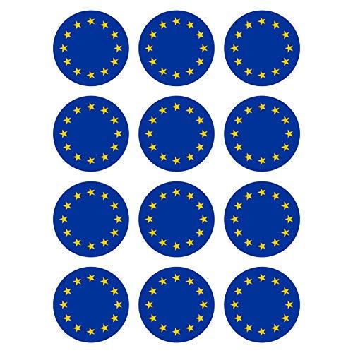 Generisch 12 Stück Aufkleber EU Flagge Rund 4 cm | Europa | Europäische Union | wetterfest & UV Schutz | Set
