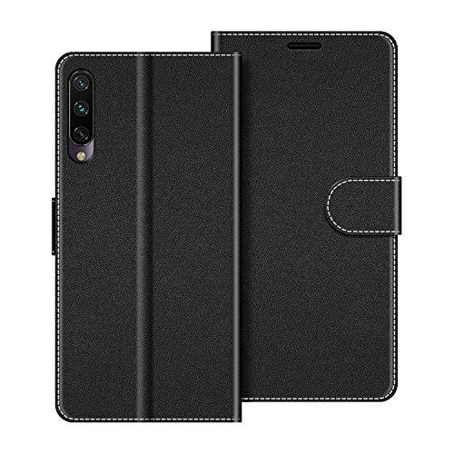COODIO Handyhülle für Xiaomi Mi A3 Handy Hülle, Xiaomi Mi A3 Hülle Leder Handytasche für Xiaomi Mi A3 Klapphülle Tasche, Schwarz