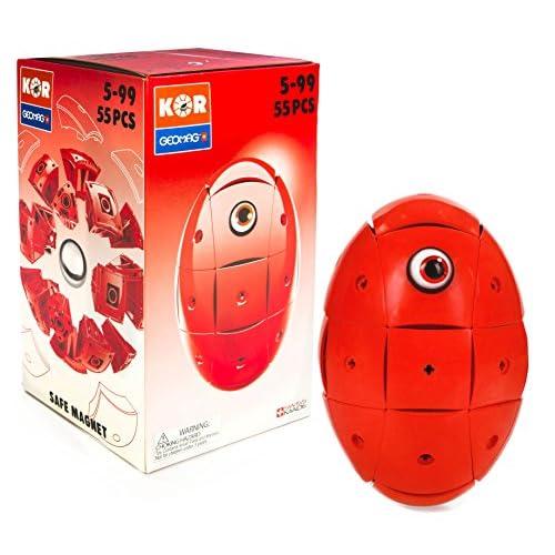 GEOMAG KOR Color 676 - Giocattoli Magnetici per Bambini - Colore Rosso - Confezione da 55 Pezzi