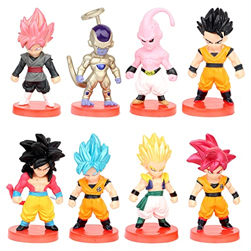 Dragon Ball Mini Figuras, Dragon Ball Cake Topper Pastel Decoración Suministros, Fiesta de Cumpleaños Goku Figures Muñeca Hecha a Mano Decoración para Niños Animales Modelo Set