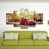 GIRDSS 120 Pieces Tableau Decoration Muralevoiture Rouge VW Golf XXL Impression sur...