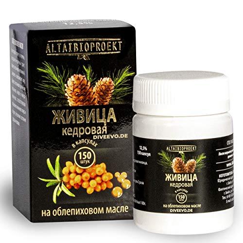 Resina de cedro sobre aceite de espino amarillo, aceite de cedro, aceite de linaza para mejorar la salud de mujeres y hombres, para fortalecer I 150 cápsulas (en aceite de espino amarillo).