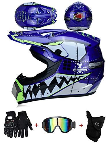 pequeño y compacto Casco de motocross para niños ZLCC – Almohadillas desmontables, casco cruzado con máscara, guantes de motocicleta …