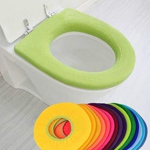 Vektenxi - Funda para asiento de inodoro de color puro, elástica, reutilizable, para inodoro, inodoro, inodoro, lavable, tipo O, felpa, decoración de baño, color al azar