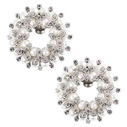 ElegantPark DE Round Decorative Shoe Clips Pearl Rhinestones Wedding Party Shoe Decorations Silver 2 Pcs