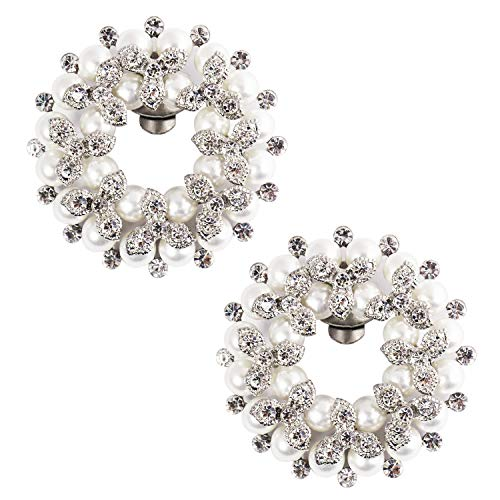Elegantpark Fashion Clips AE Mujer Accesorios Pearl Rhinstones zapato Clips 2 Pcs