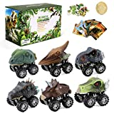 Dinosaur Toy Pull Back Cars: 6 Pack Set Realistic Dino Cars | Mini Monster Truck with Big Tires | Small Dinosaur Toys for Kids 3-6 | Xmas Birthday Party Favor Gifts for 3,4,5,6 Year Old Boys Toddler