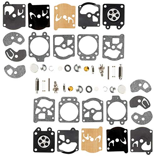 QAZAKY 2pc Carburetor Diaphragm Gasket Rebuild Repair Kit for Walbro K10-WAT WA WT Series Carb 2-cycle String Trimmers Blowers Chainsaw Poulan Weedeater Ryobi Homelite Lawnboy Toro Stihl