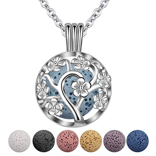 INFUSEU Sakura Tree Aromatherapy Necklace, Essential Oils Diffuser Locket Pendant with 5 PCS Lava Rock Stones and 24' Link Chain