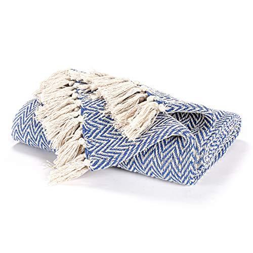 EHC Cotton Handwoven Reversible Single Sofa Throw Arm Stuhlbezug 125 x 150 cm - Marineblau