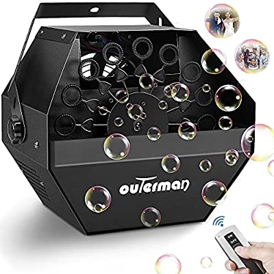 Outerman Bubble Machine, Automatic Bubble Blower with Large High-Speed Fan and Portable Handle, Wireless Remote Control Durable Metal Bubble Maker for Christmas, Party, Wedding, Festival, Stages