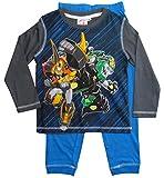 Transformers Schlafanzug Jungen Pyjama Lang (Grau-Blau, 98-104)