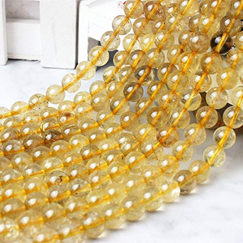 Gendaje Moda 6/8/10 Mm Amarillo translúcido Pelo Cristal Piedra Suelta Cuentas DIY Hombres y Mujeres Pulsera Collar Accesorios Hair Crystal 6mm 63beads