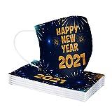 MA87 Erwachsene Einweg Mundschutz Multifunktionstuch, 3-lagig Happy new year Bedruckt Maske,Weiche Staubdicht Atmungsaktive Vlies Mund-Nasenschutz Bandana Halstuch