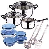 San Ignacio Batería de cocina 5 piezas (3 cuerpos y 2 tapas de vidrio) Set 3 utensilios de cocina acero inoxidable Set 5 boles de cristal con 5 tapas en azul
