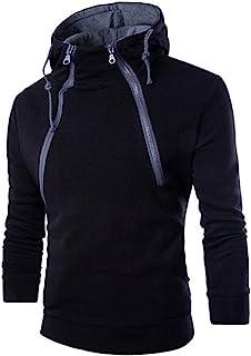 JustWin Men's Panel Long Sleeve Sweater Patchwork Hoodie Hooded Sweatshirt Outwear Blouse