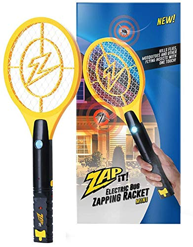 Zap It Bug Zapper Rechargeable Bug Zapper Racket with Blue Light Attractant, 4,000 Volt, USB Charging Cable