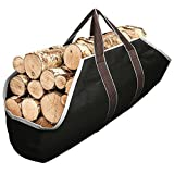 Amagabeli Large Canvas Log Tote Bag Carrier Indoor Fireplace Firewood Totes Log Holders Woodpile Rack Fire Wood Carriers Carrying for Outdoor Tubular Birchwood Stand by Hearth Stove Tools Set Basket