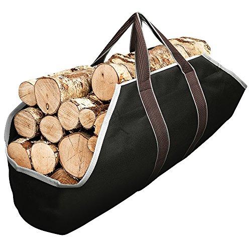 Large Canvas Log Tote Bag Carrier Indoor Fireplace Firewood Totes Log Holders...