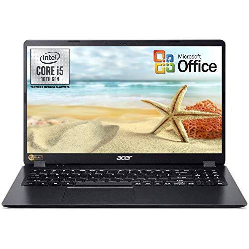 """Notebook Acer pc portatile SSD 512 Gb, Intel Quad Core i5 di 10Th Generazione fino a 4,2 Ghz, RAM 8GB, Display 15.6"""" Full HD, Svga UHD 620, 3 usb, hdmi, Win 10 Pro, Office 2019, Pronto all'uso"""