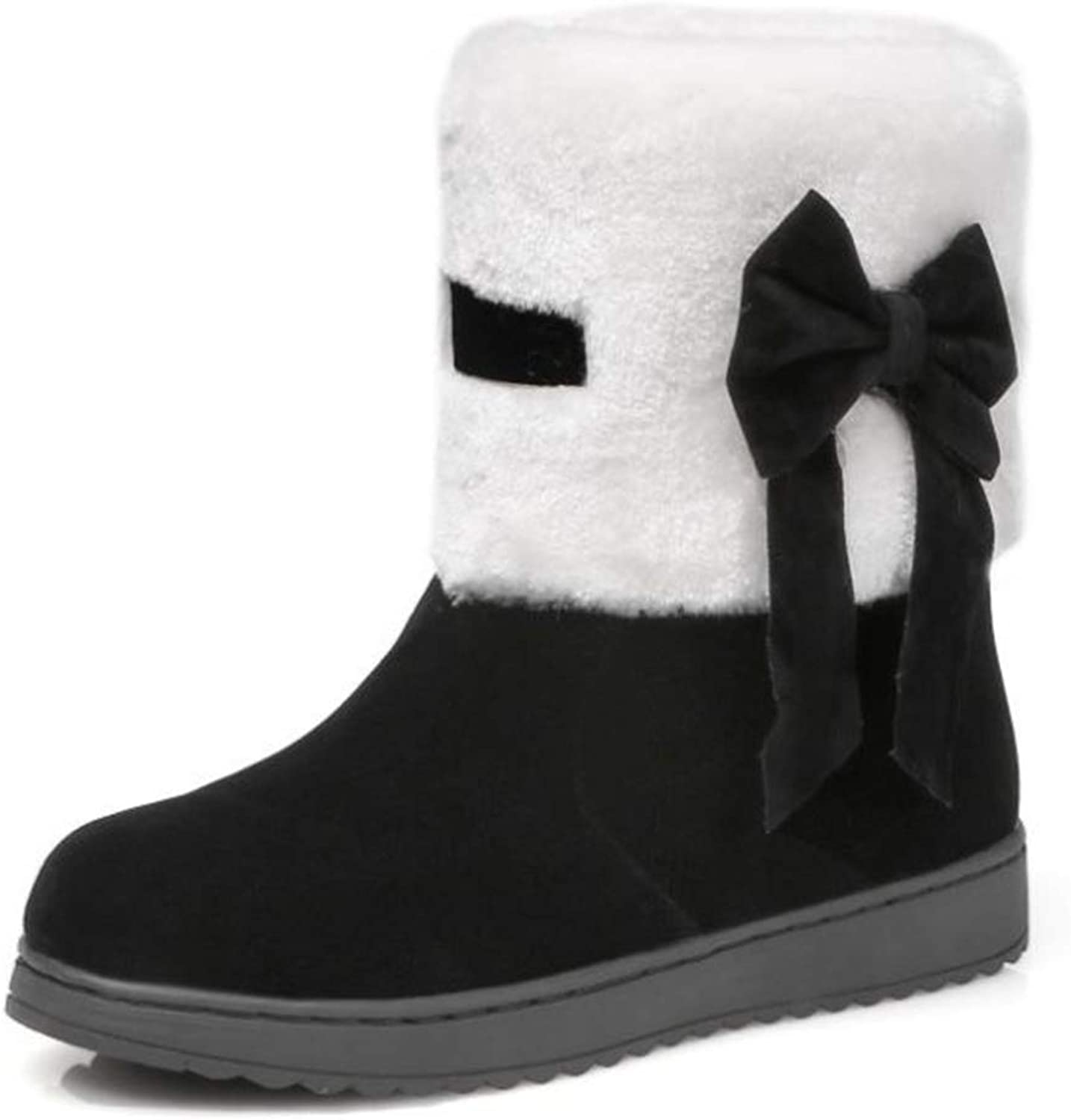 pink town Women's Winter Snow Boots Bowtie Slip on Daily Warm Ankle Boots