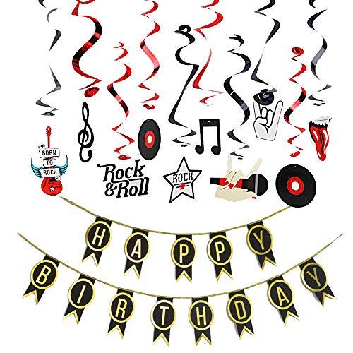 Easy Joy Rock Geburtstag Deko Set Happy Birthday Girlande Disco Musik Spiralen Rock and Roll Mottoparty 30. 40. 50. Geburtstag Dekoration
