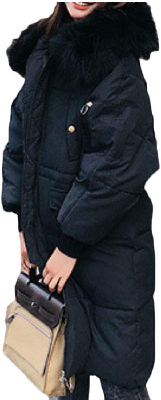 Keaac Women Warm Faux Fur Hood Winter Puffer Down Jackets Parka Coats
