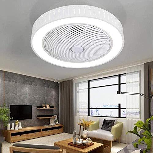 LED redondo moderno ventilador de techo luces comedor dormitorio control remoto lámparas de ventilador invisible luces de techo iluminación cálida - tres colores regulable