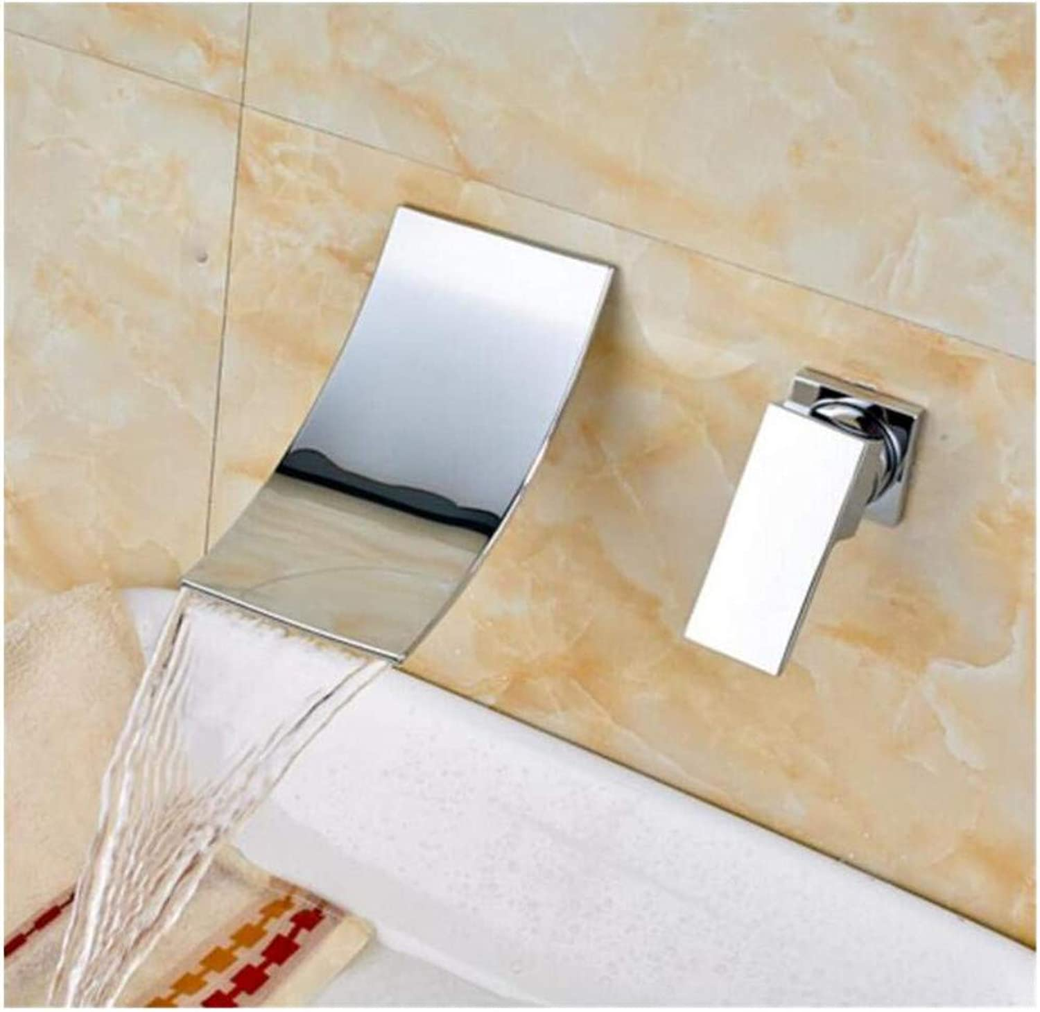 Brass Wall Faucet Chrome Brass Faucettap Deck Mounted Waterfall Bathroom Mixer Crane Taps