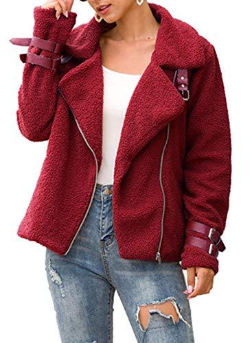 FIYOTE Abrigo corto cálido de piel sintética para mujer, con solapa gruesa, esponjosa, holgada, para motociclista.