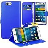 Huawei Ascend G7 Handy Tasche, FoneExpert® Wallet Hülle Flip Cover Hüllen Etui Ledertasche Lederhülle Premium Schutzhülle für Huawei Ascend G7 (Blau)