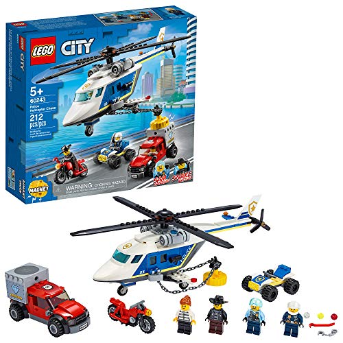 LEGO City Police Helicopter Chase 60243 Police Playset, LEGO Building Sets for Kids, New 2020 (212 Pieces)