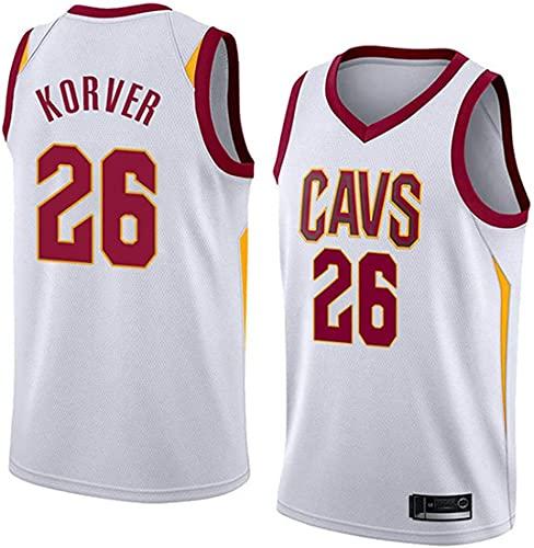 XSJY Jersey para Hombres NBA Cavaliers 26# Korver Baloncesto Entrenamiento De Ropa Deportes Y Ocio Secado Rápido Transpirable Vestir Chaleco,B,M:170~175cm/65~75kg