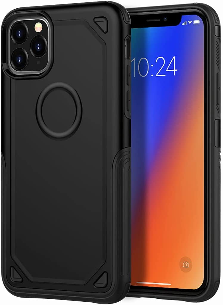 YUEKAI Cell Phone Case for iPhone 11 Pro Max, Shock-Absorption Bumper Cover Full Body Double Protection for Apple iPhone 11 Pro Max (Black)
