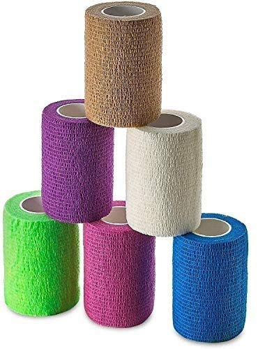 Self Adherent Wrap - Bulk Pack of 6, Athletic Tape Rolls and Sports Wraps, Self Cohesive Non-Woven Adhesive Bandage (3 In x 5 Yards) for Ankle Sprains & Swelling