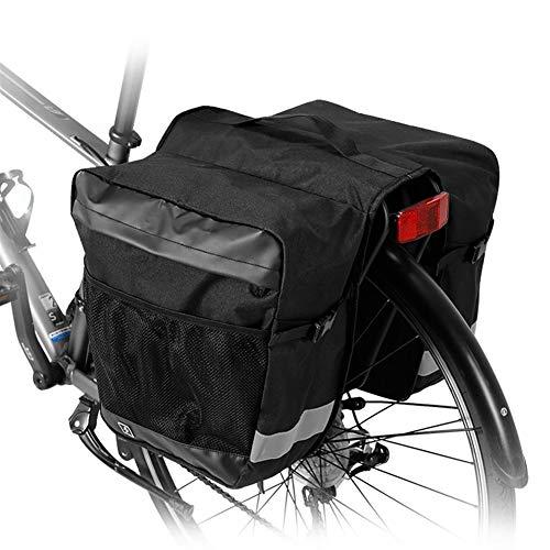 Bolsa impermeable 2 en 1 de montaña de carretera bicicleta de carretera de bicicleta de maletero de ciclismo de doble lado trasero rack asiento trasero alforja caja de herramientas, negro