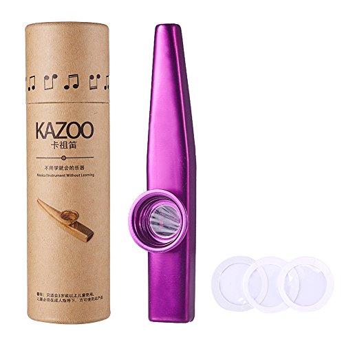 Kazoo de aleación de aluminio WANDIC y Kazoos de boca de diafragma de flauta de 3 membranas con caja de regalo vintage púrpura