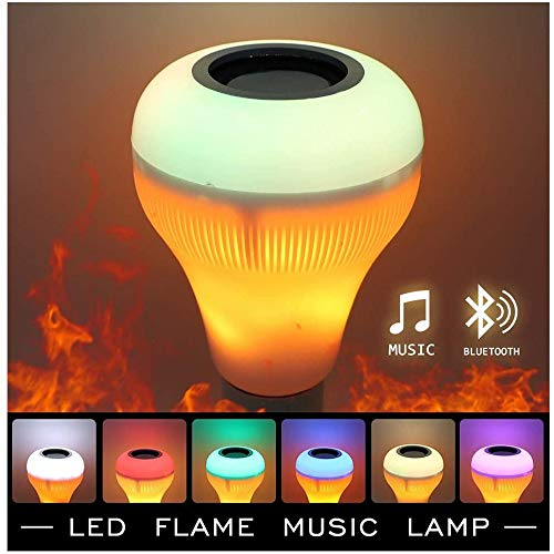 Music LED Light Bulb, E27 Bluetooth Speaker RGB Color Changing Light Bulb with Remote Control, LED RGB Wireless Music Play Speaker Dimmable Bulb Light Flame Lamp,Party, Home(2 Pack) (A)